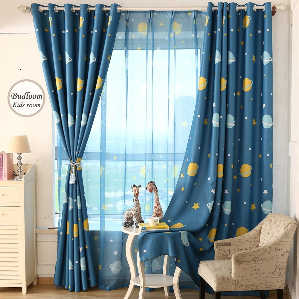 Best Cartoon Blue Planet Star Curtains For Kids Room Lovely With Pictures