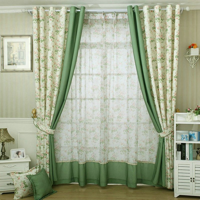 Best Bigmum Bedroom Curtain Pastoral Style Leaves Pattern With Pictures