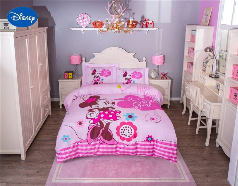 Best Cute Pink Disney Minnie Mouse Cartoon Printed Bedding Set For Girls Bedroom Decor Cotton With Pictures