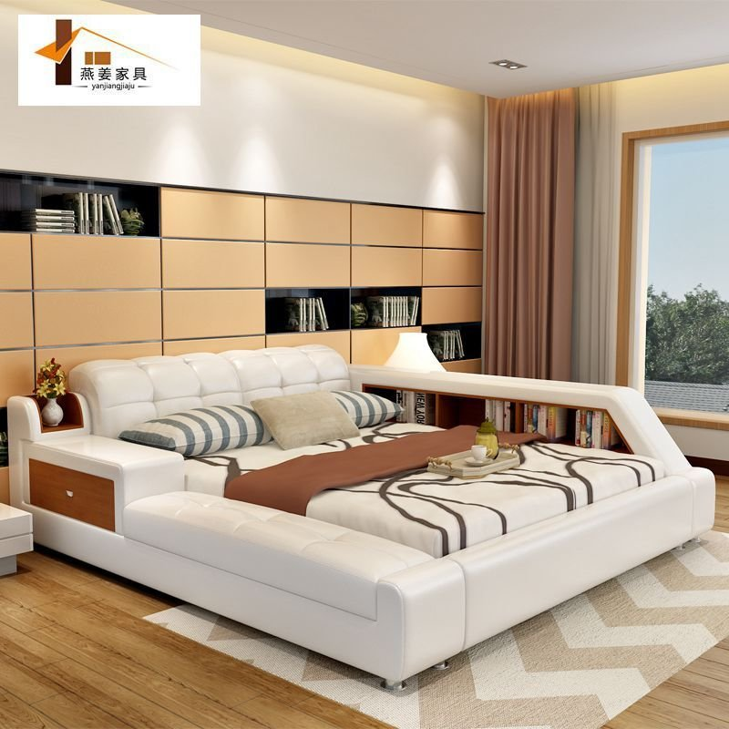 Best Bedroom Furniture China Leather Bed Tatami Bed Minimalist With Pictures