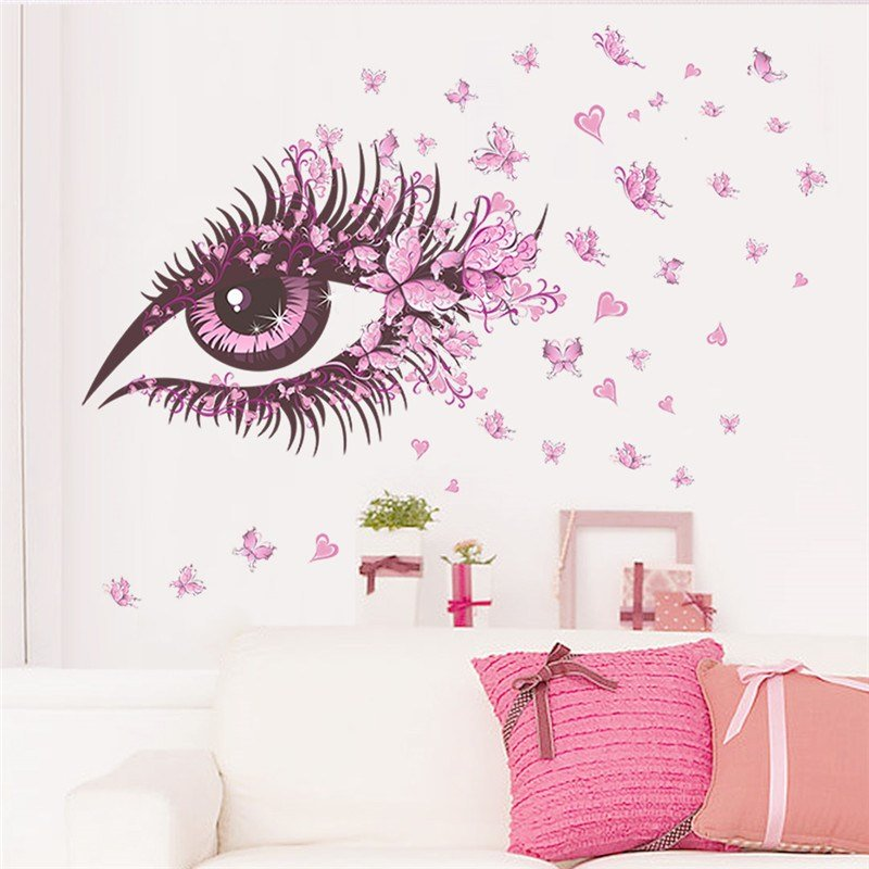 Best S*Xy Girl Eyes Butterfly Wall Stickers Living Bedroom With Pictures