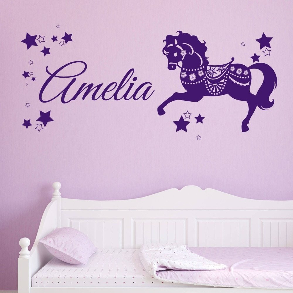 Best Wall Decal Vinyl Sicker Personalised Custom Name Horse With Pictures