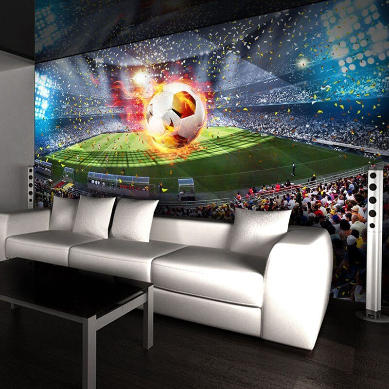 Best Custom Photo Wallpaper 3D Stereoscopic Football Field Soccer Large Murals Wallpaper Wall With Pictures