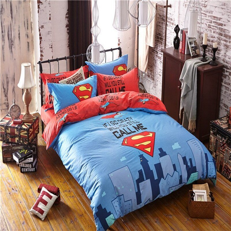 Best Superman Printed Bedding Set For Boys Kids Marvel Superhero Duvet Cover Sheet Pillowcase With Pictures