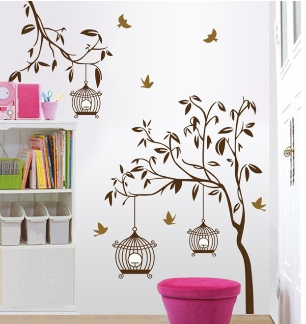 Best Brown Tree Wall Stickers Decals Women Birdcage Plants With Pictures