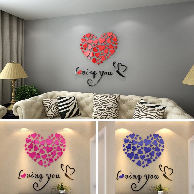 Best Romantic Diy Art 3D Acrylic Love Heart Wall Sticker Bedroom Living Room Wedding Decoration Wall With Pictures