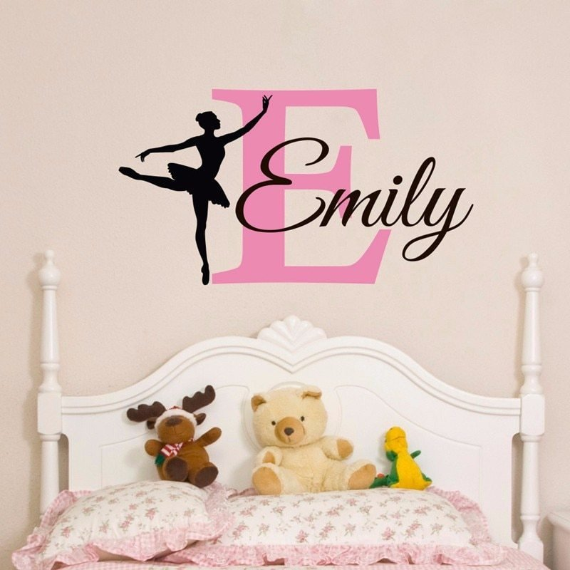 Best Elegant Personalized Name Ballerina Custom Baby Girls Wall With Pictures