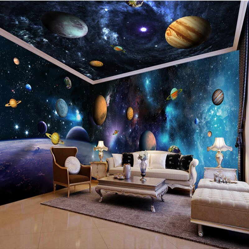 Best 3D Papel Parede Outer Space Decor 3D Cartoon Wallpaper With Pictures