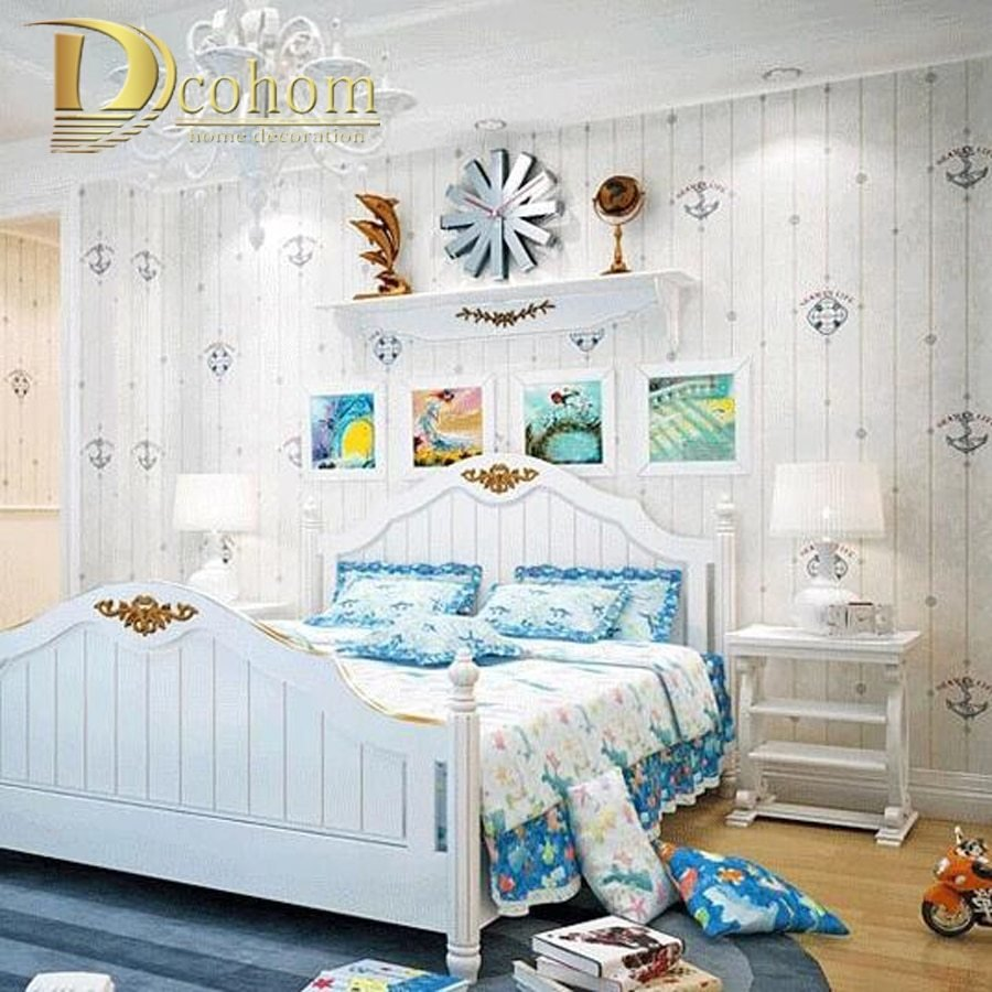 Best Mediterranean Cartoon Wood Striped Kids Room Wallpaper For With Pictures