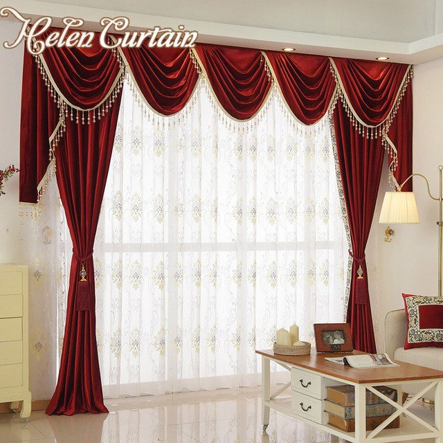 Best Aliexpress Com Buy Helen Curtain Set Luxury Velvet Red With Pictures