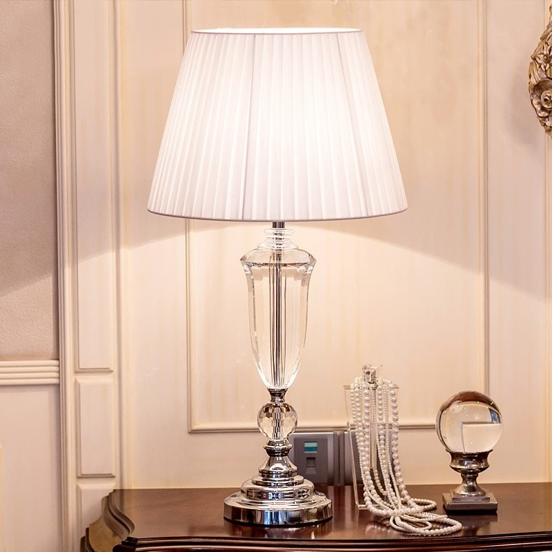 Best Modern K9 Crystal Bedroom Table Lamp Fabric Lampshade With Pictures