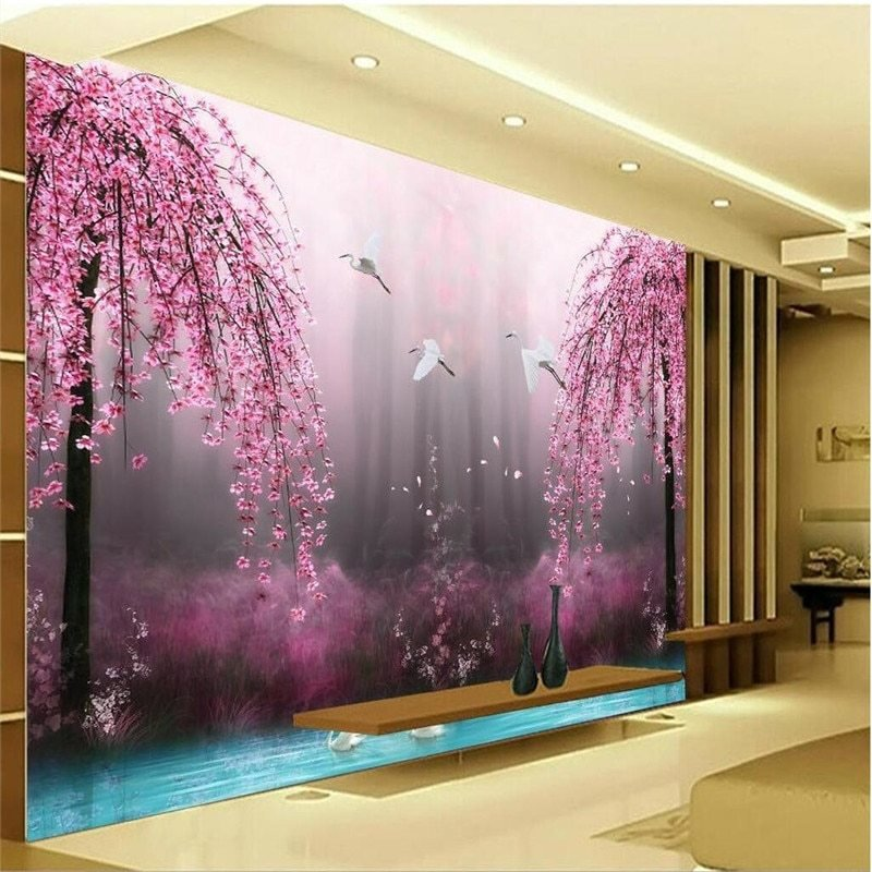 Best Aliexpress Com Buy Romantic Purple Peach Crane Lake Wall With Pictures