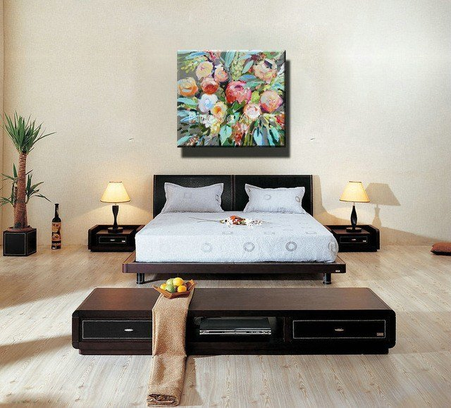 Best Famous Artist Acrylic Paint Bedroom Abstract Modern Canvas Art Handmade Decorative Flower Oil With Pictures