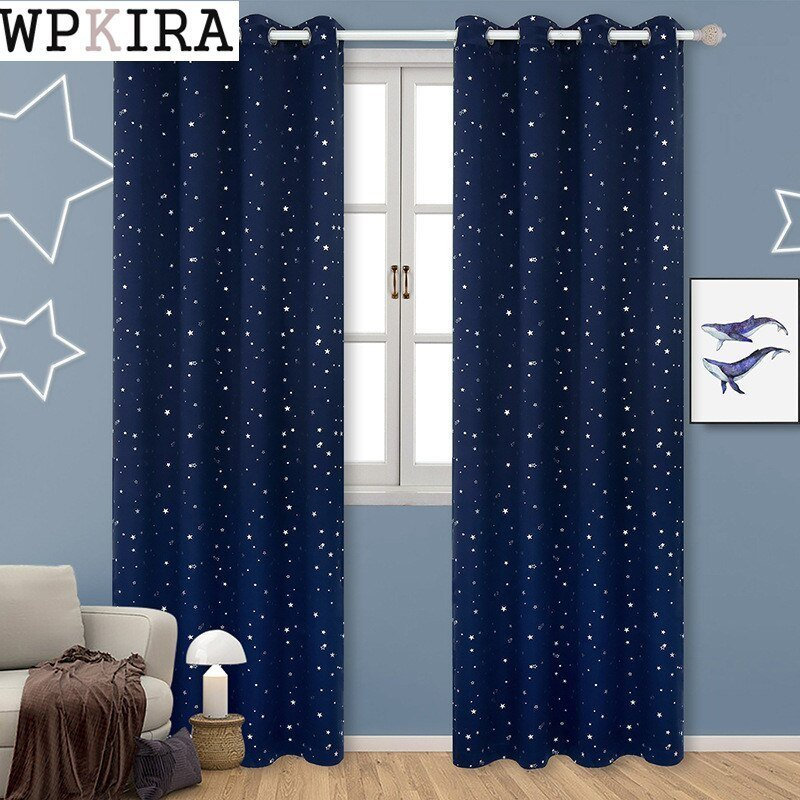 Best Navy Blue Star Curtains For Kids Room Lovely Printed Curtains For Boys Bedroom Baby Room With Pictures