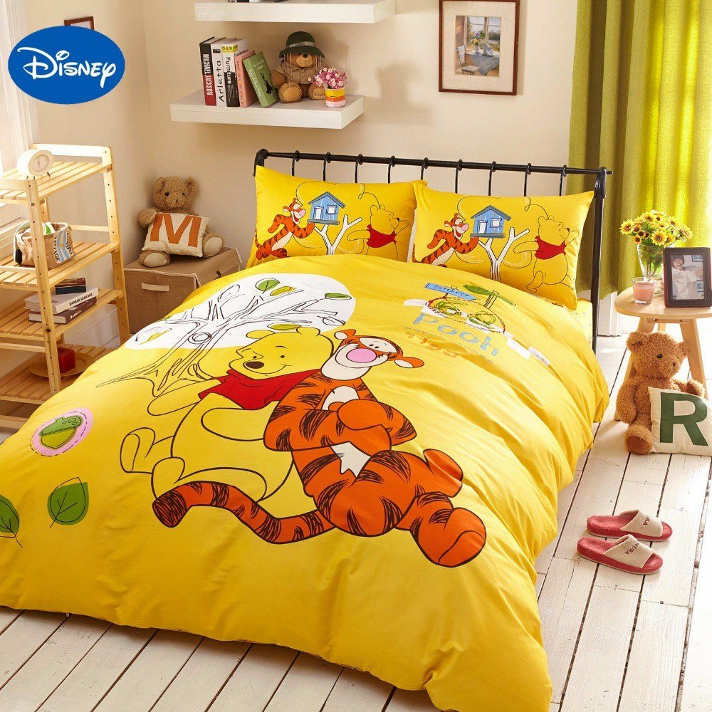 Best Yellow Disney Cartoon Winnie The Pooh Tigger Bedding Set With Pictures