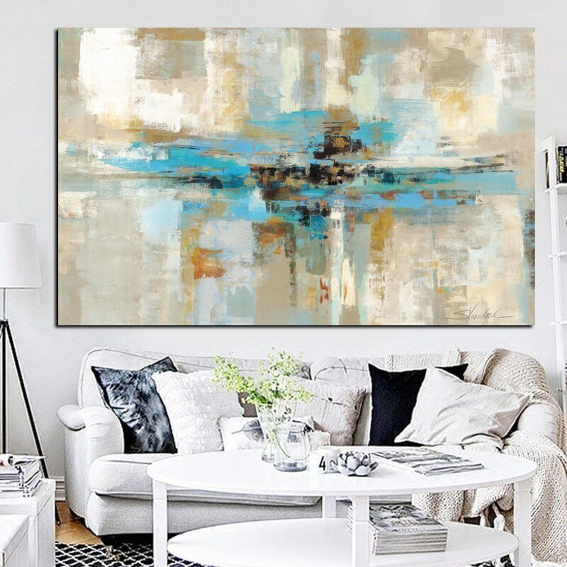 Best Blue Brown Modern Abstract Oil Painting Poster Print Wall With Pictures