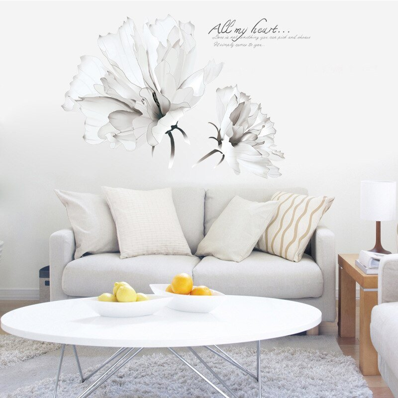 Best Two Large White Flowers Wall Stickers Women Salon Bedroom Home Decor Arts Murals Removable Diy With Pictures