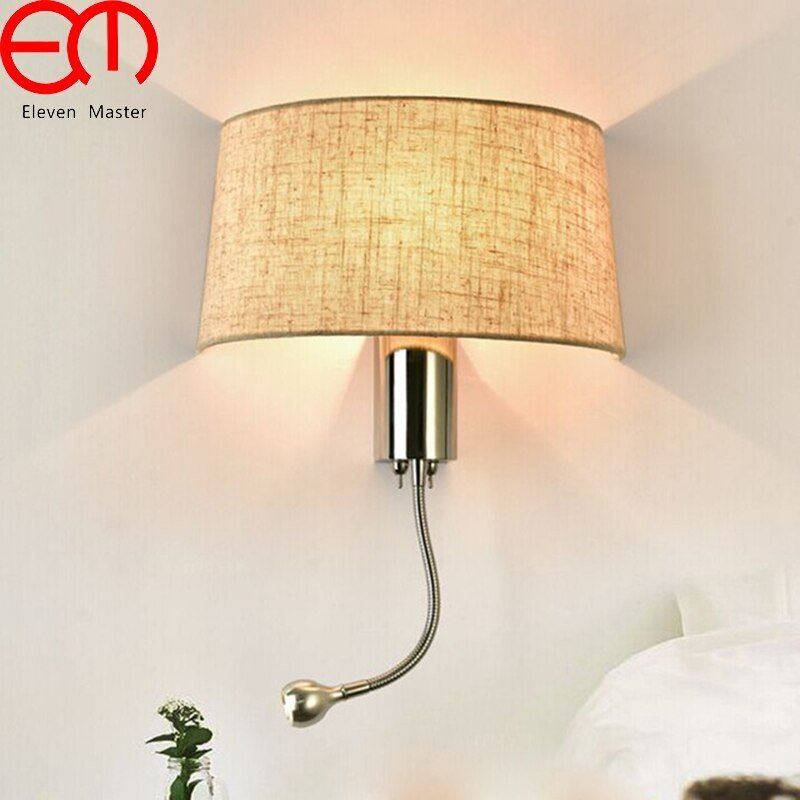 Best Led Fabric Wall Light Modern Bedroom Bedside Wall Lamp With Pictures