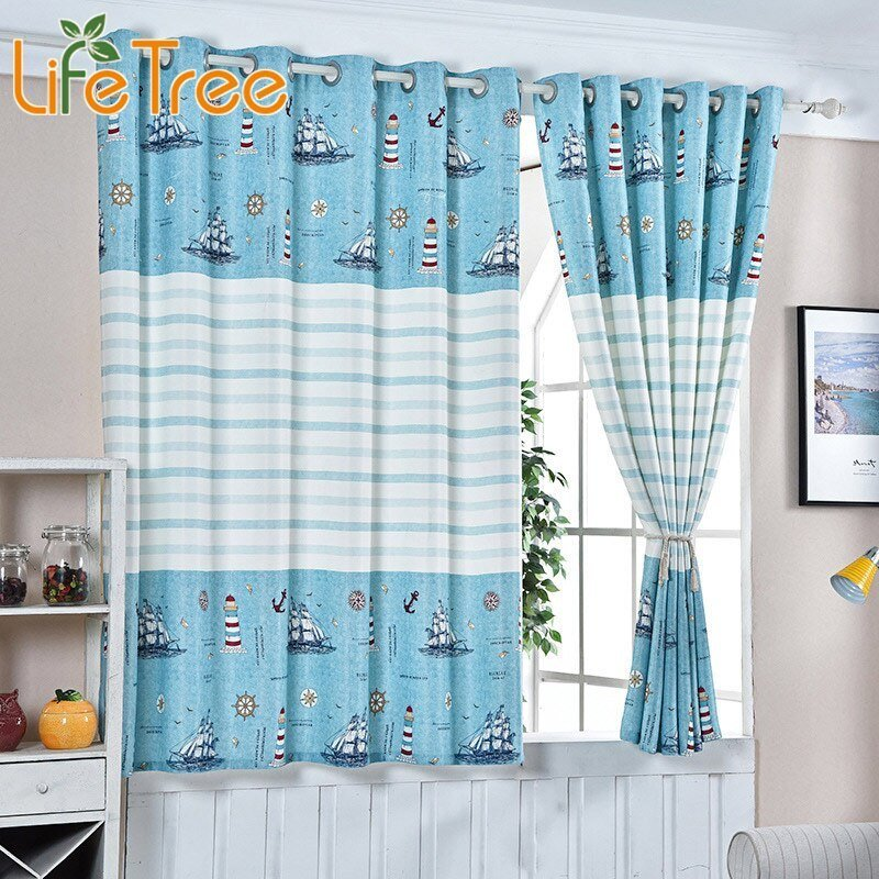 Best Blue Sea And Boats Printed Boys Curtain For Kids Bedroom With Pictures