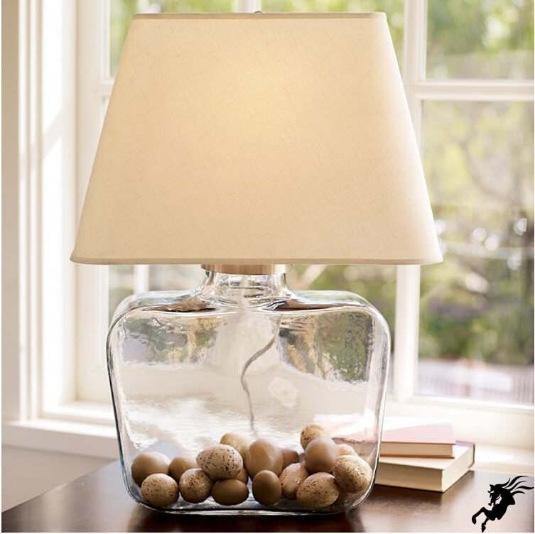 Best Brief Country Style Clear Crystal Glass Fabric Table Lamp For Bedroom Bar Living Room Guest Room With Pictures