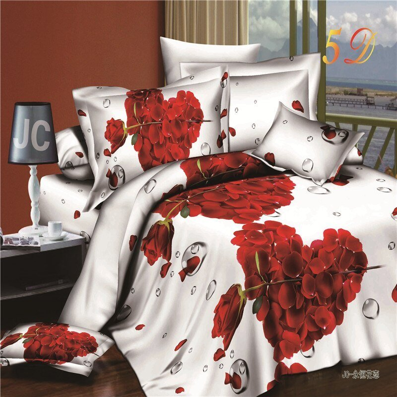 Best Aliexpress Com Buy Romantic Heart Shaped Rose 3D Bedding Set Cotton Bedroom Textiles Sets With Pictures