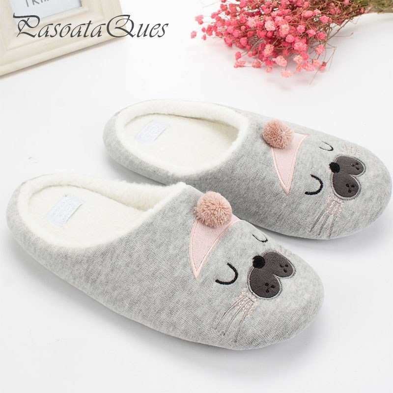Best Cute Cat Animal Pattern Cotton Home Slippers Women Sandals Indoor Shoes For Bedroom House Warm With Pictures