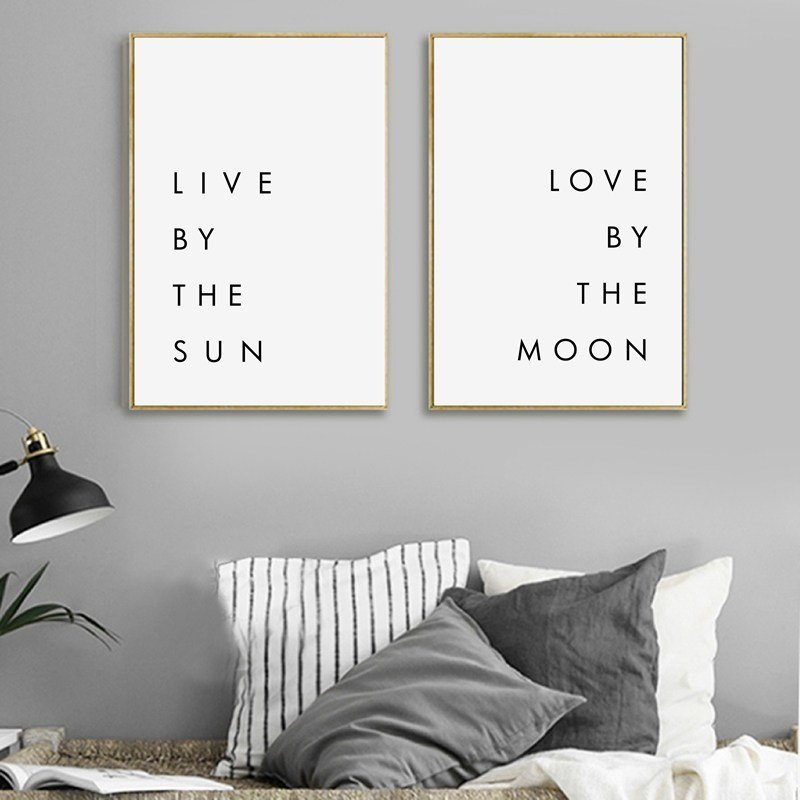 Best Bedroom Wall Art Minimalist Canvas Print Poster Live By The Sun Love By The Moon Typography With Pictures