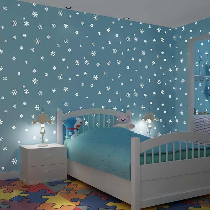 Best 3D Stereoscopic Snowflake Non Woven Glitter Wallpaper With Pictures