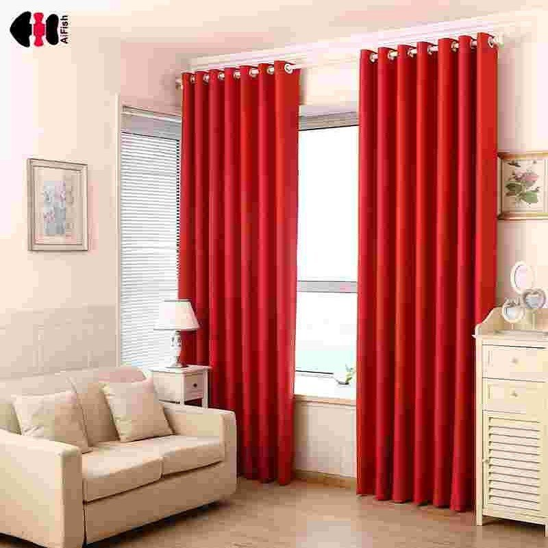 Best Red Curtains Pure Black Blockout Curtains French Curtain With Pictures