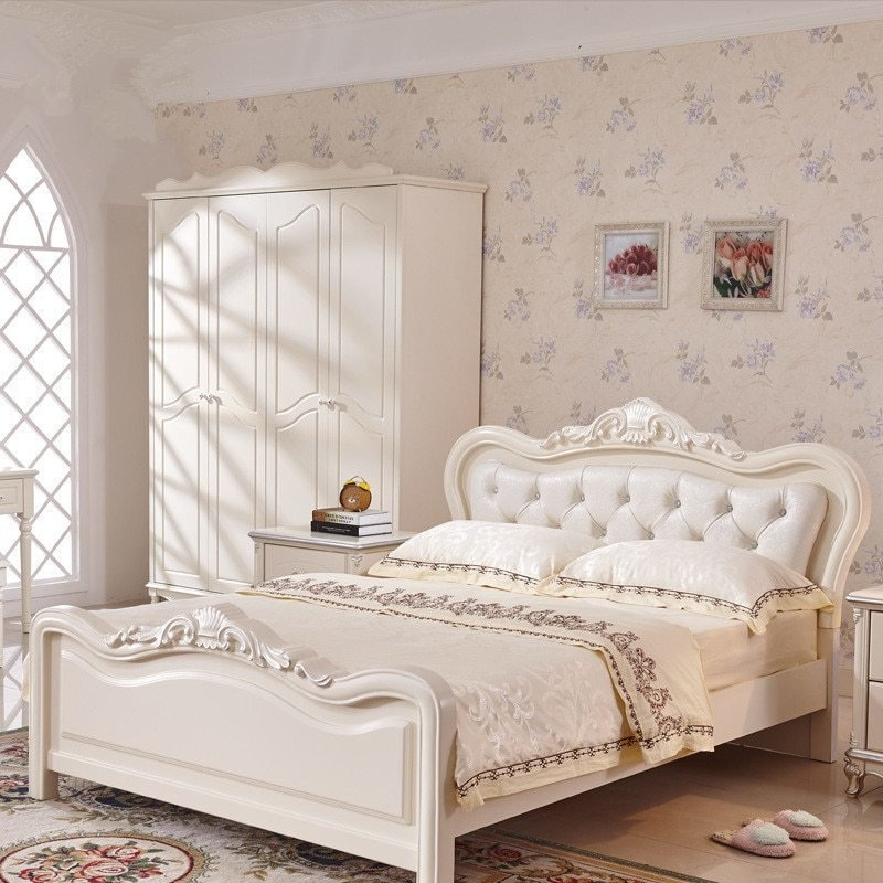 Best French Luxury Bed Ivory White Flannel Real Wood Bed With Pictures