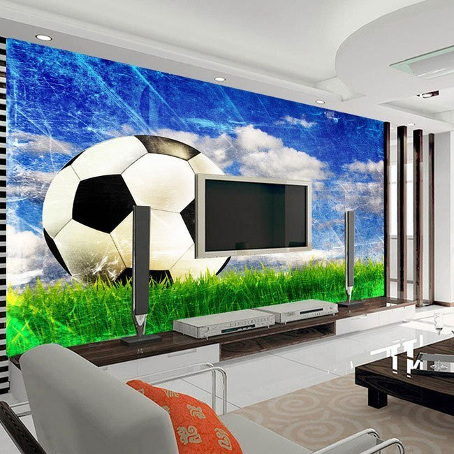 Best Large Mural Living Room Bedroom Study Paper Soccer Sports Style 3D Wallpaper Mural In Wallpapers With Pictures
