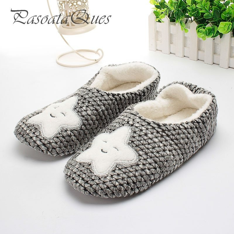 Best Star Pattern Winter Home Slippers Women House Shoes Female For Indoor Bedroom House Warm Cotton With Pictures