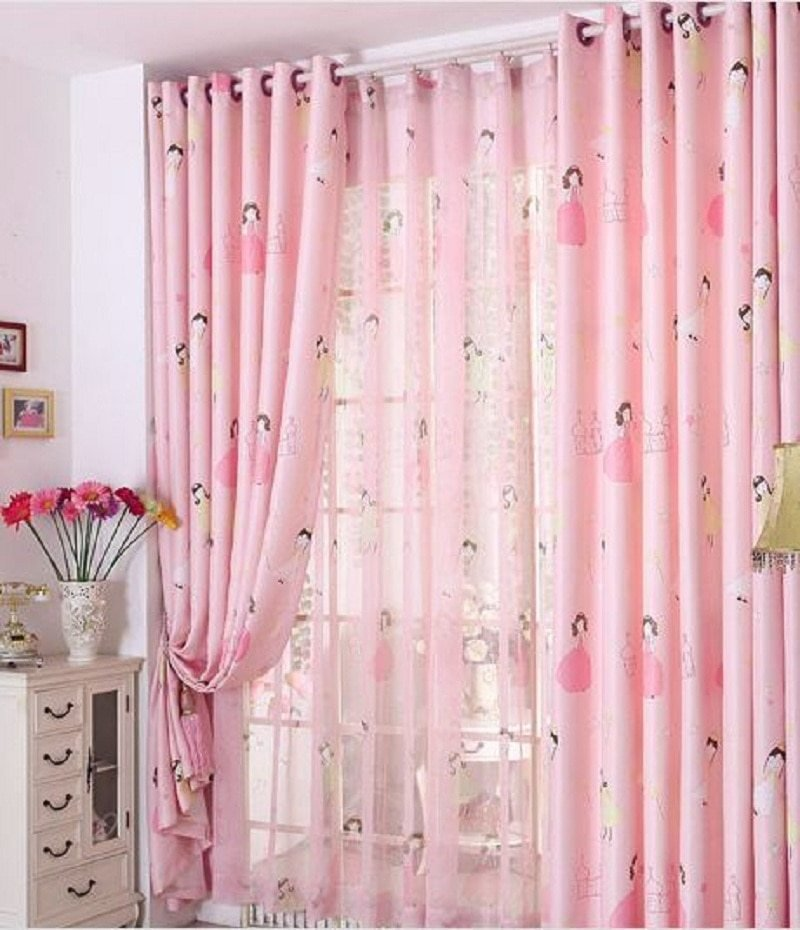 Best Pink Princess Blackout Window Curtains For Kids Girls Bedroom Living Room Drapes Voile Tulle With Pictures