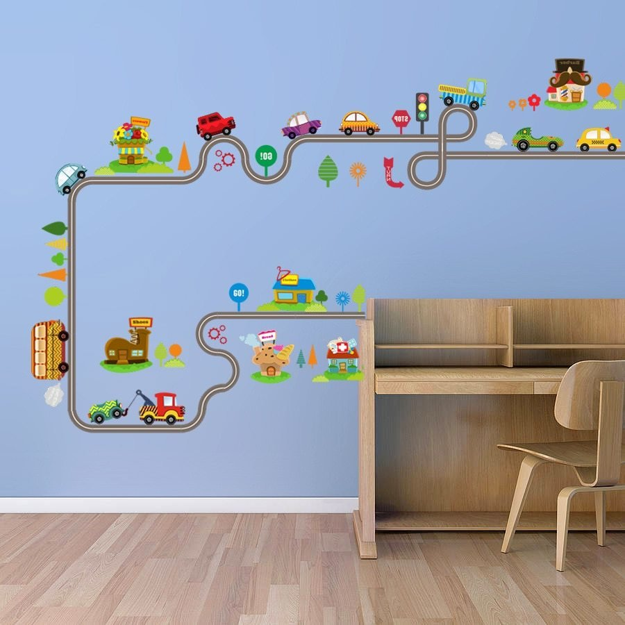 Best Cartoon Car Bus Highway Track Wall Stickers Kids Rooms With Pictures