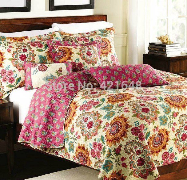 Best Free Shipping American Country Style 100 Cotton 3 Pcs Quilt Mediterranean Style Bedding Set With Pictures