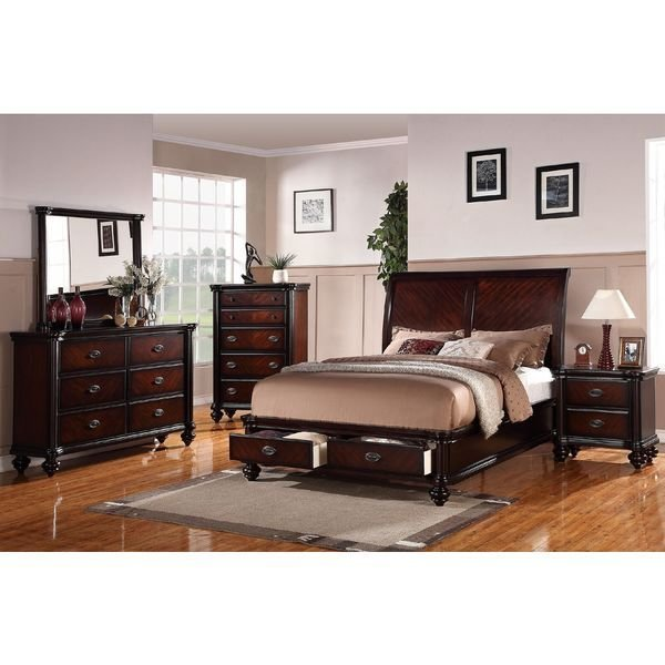 Best Shop Anatolio Cherry Storage Bed 4 Piece Bedroom Set On With Pictures