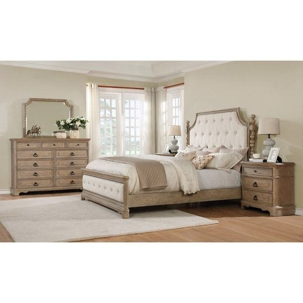 Best Shop Piraeus 296 Solid Wood Construction Bedroom Set With Queen Size Bed Dresser Mirror And 2 With Pictures