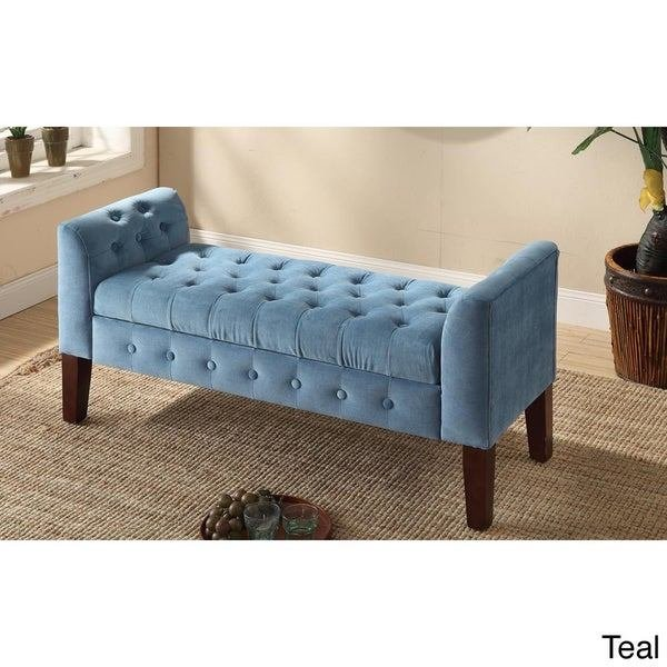 Best Homepop Velvet Tufted Storage Bench Settee Free With Pictures