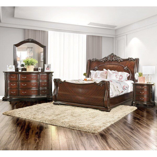 Best Shop Furniture Of America Luxury Brown Cherry 4 Piece Baroque Style Bedroom Set On Sale Free With Pictures