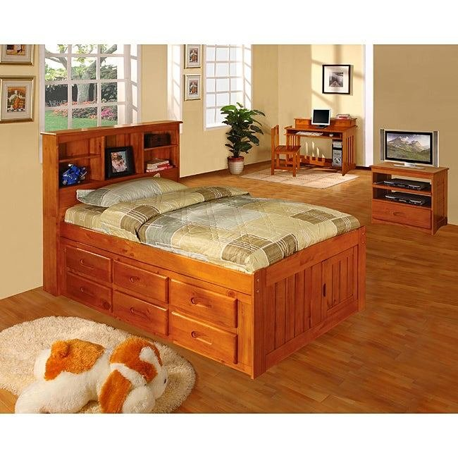 Best Honey Solid Pine Wood Bookcase Twin Size Bedroom Set 5 Pieces Free Shipping Today With Pictures