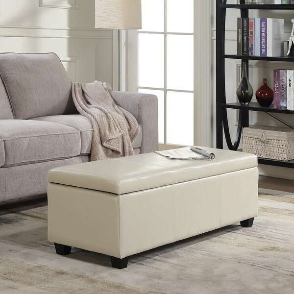 Best Shop Belleze Modern Elegant Ottoman Storage Bench Living Bedroom Room Home Faux Leather 48 Inch With Pictures