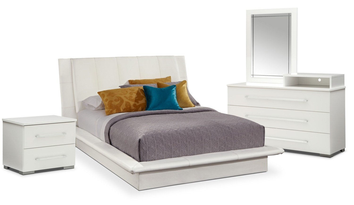 Best Dimora 6 Piece Queen Upholstered Bedroom Set With Media With Pictures