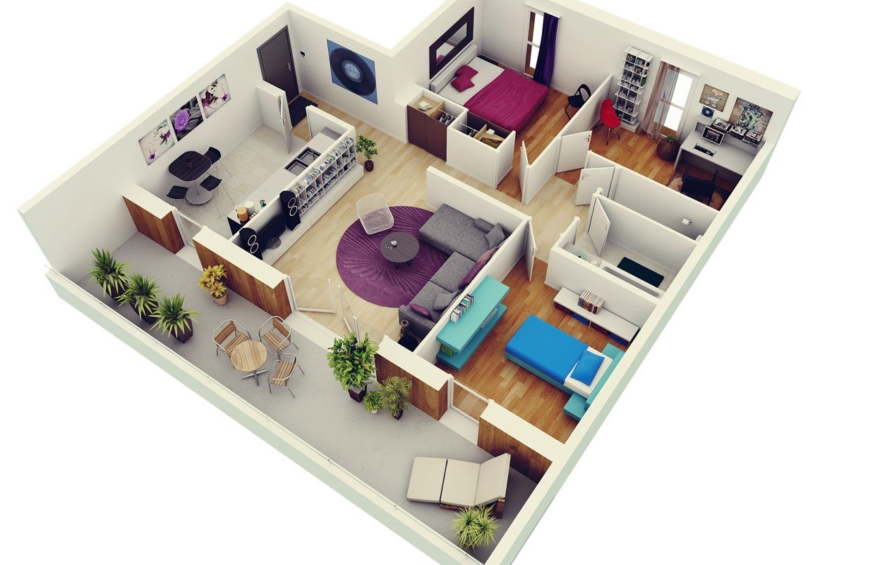 """Best 50 Three """"3"""" Bedroom Apartment House Plans Architecture With Pictures"""