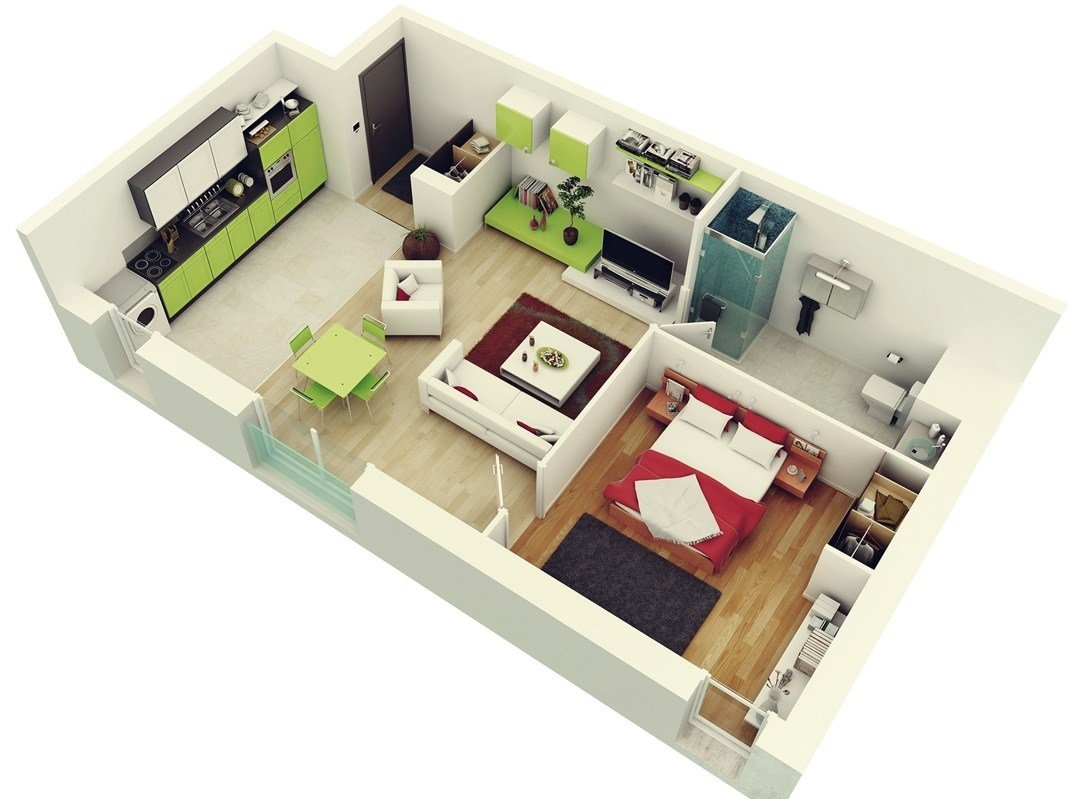 "Best 50 One ""1"" Bedroom Apartment House Plans Architecture Design With Pictures"