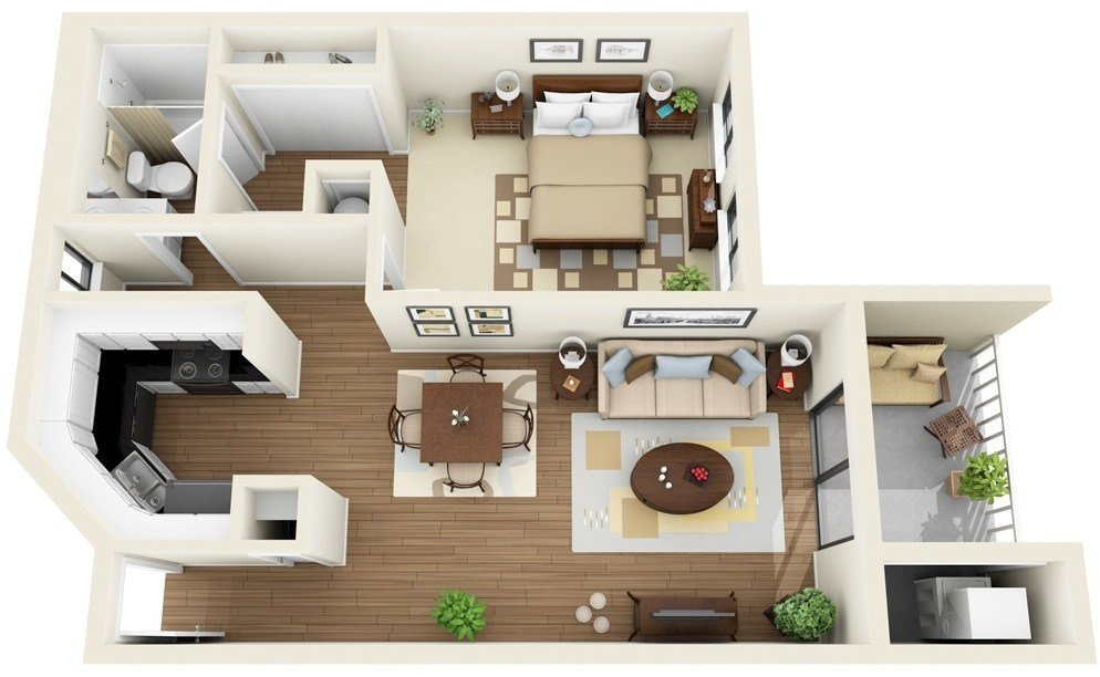 """Best 50 One """"1"""" Bedroom Apartment House Plans With Pictures Original 1024 x 768"""