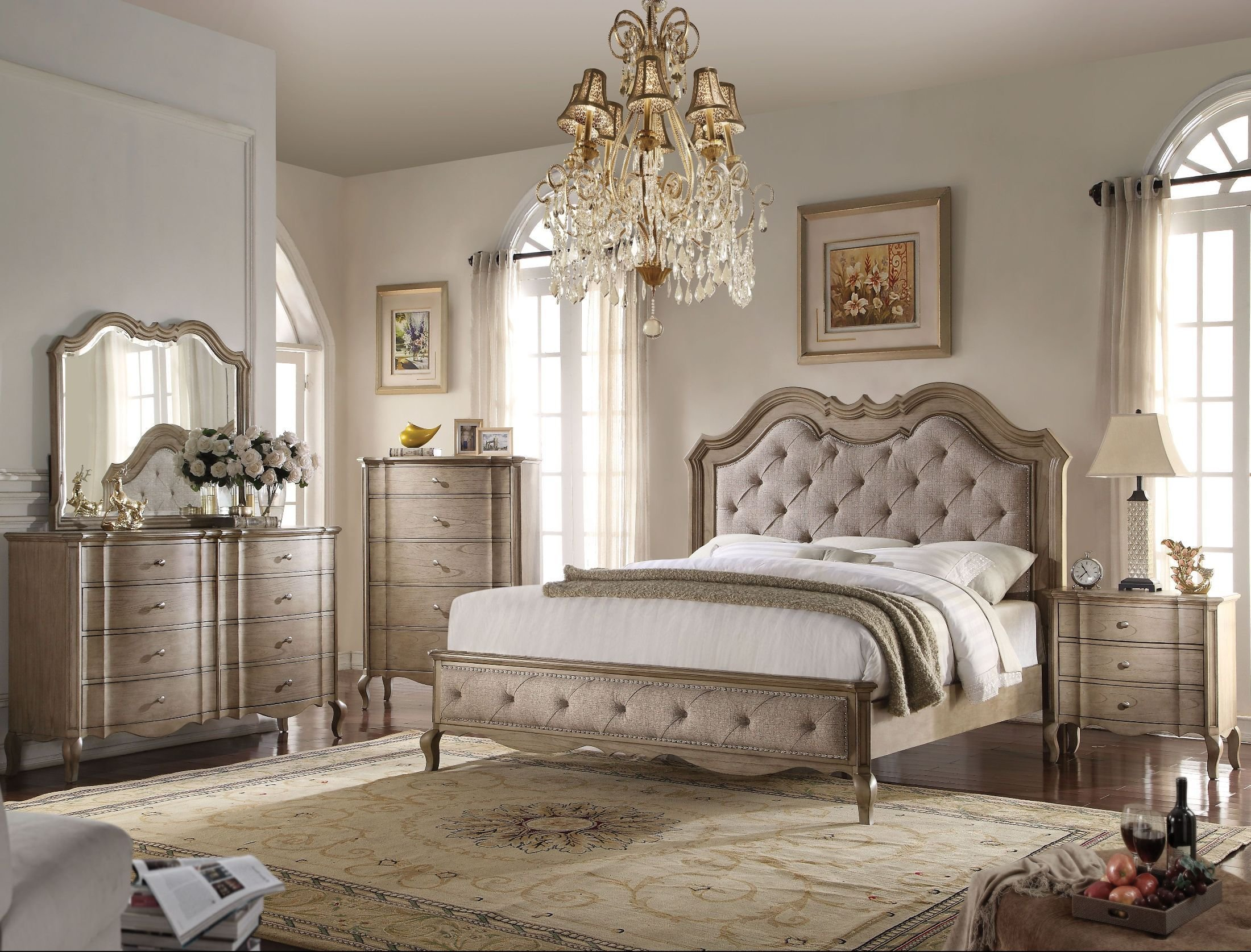 Best Acme Chelmsford Beige And Antique Taupe Bedroom Set With Pictures