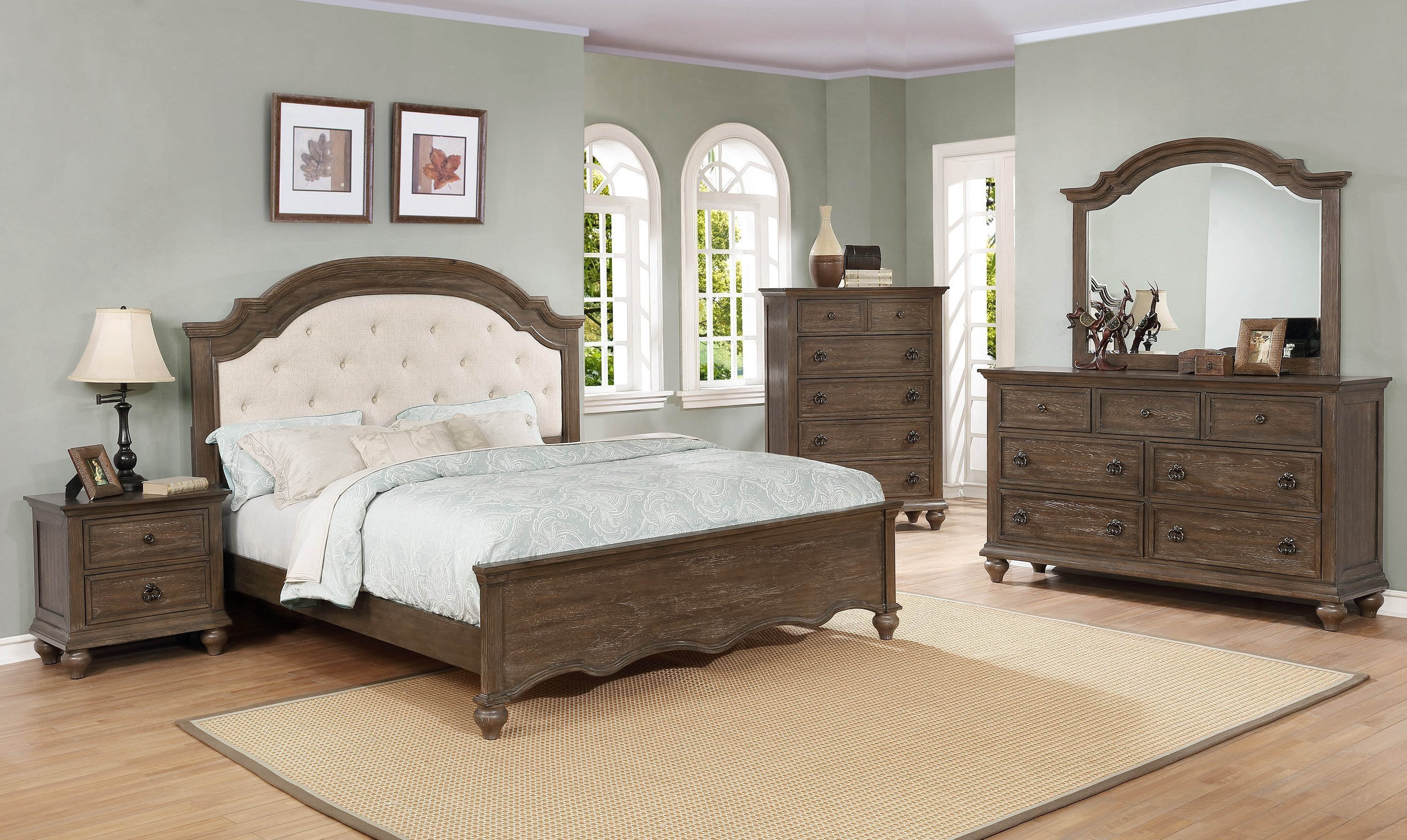 Best Tafton Upholstered King Bedroom Set My Furniture Place With Pictures