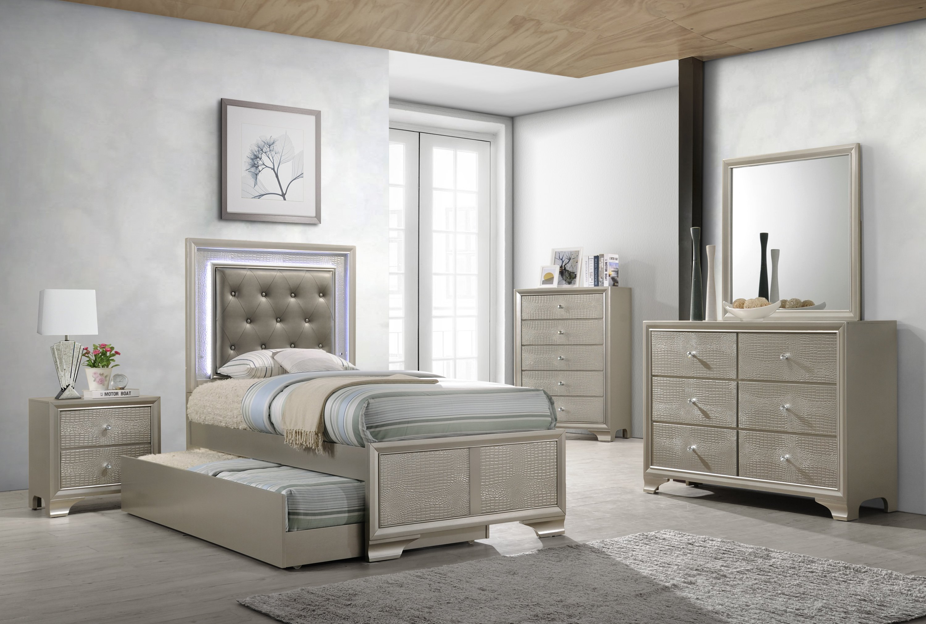 Best Lyssa Twin Trundle Bedroom Set My Furniture Place With Pictures