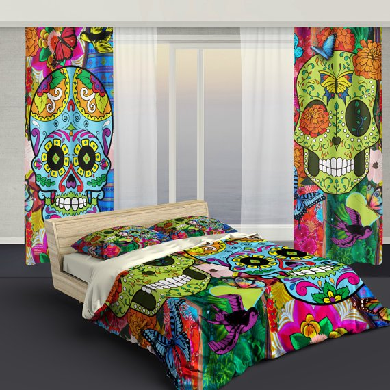 Best Sugar Skull Bedding Curtains – Sugar Skull Culture With Pictures