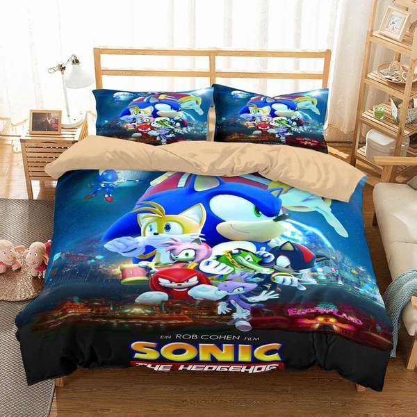 Best 3D Customize Sonic The Hedgehog Movie Bedding Set Duvet With Pictures
